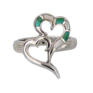 925 Mother of Pearl & Turquoise Double Heart Ring